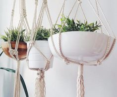 Show your plants some love with this modern, hand-crafted, macrame plant hanger. Made from 100% cream cotton rope, this lovely plant hanger is a stylish way to