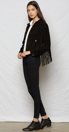 the on the fringe trucker jacket - a cropped, men's trucker jacket in 70s inspired suede features a button front with front snap pockets and fringe accented sleeves.