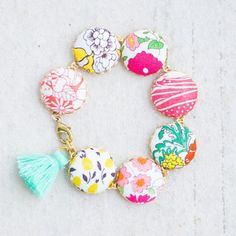 Flower Charm Bracelet, Gift for her, Liberty Of London Fabric Button Bracelet, Tassel Bracelet Button Bracelet, Tassel Bracelet, Button Earrings, Fabric Jewelry, Diy Jewelry, Handmade Jewelry, Jewelry Ideas, Handmade Gifts, Jewellery