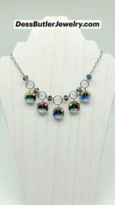 Crystal Bead Necklace, Diy Necklace, Beaded Earrings, Crystal Beads, Beaded Jewelry, Silver Jewelry, Jewelry Necklaces, Diy Crafts Jewelry, Handmade Jewelry