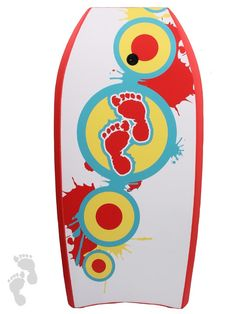 """41"""" fun and colourful red splats bodyboard from twobarefeet, loads more designs on our website"""
