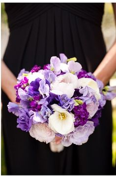 Purple, Lilac, and White bouquet. Love the colours but would go with different type of flowers