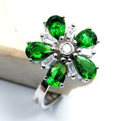 'Blossom' Green CZ & Sterling Silver Pendant or Ring Size 7