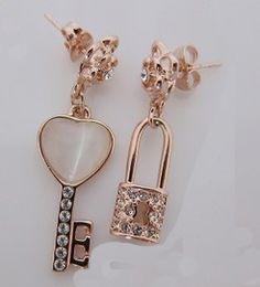 Love key lock Creative Earrings