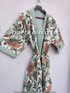 White Winter Floral Kimono Robe Winter Kimono Robe Winter Kantha Jacket Winter Dresses Kimono Cardigan Dressing Gown For Winter Unisex Robe Cotton Kimono, Floral Kimono, Cotton Jacket, Cotton Fabric, Kimono Cardigan, Kimono Jacket, Winter Kimono, Kimono Dressing Gown, Kimono Fashion