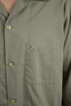 50's Green Men's Shirt Long Sleeve with Triangle Embroidery at Front Pocket by BuffaloGalVintage on Etsy
