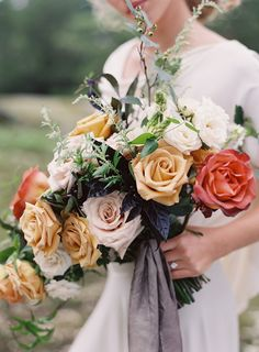 Fall rose wedding bridal bouquet by Sweet Root Village  Autumn Wedding Inspiration at the Mill at Fine Creek by Richmond Virginia Wedding Planner East Made Event Company and Michael and Carina Photography