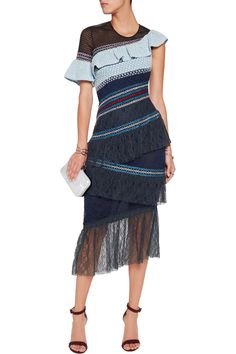Shop on-sale Peter Pilotto Octave tiered shirred lace and mesh midi dress. Browse other discount designer Dresses & more on The Most Fashionable Fashion Outlet, THE OUTNET.COM