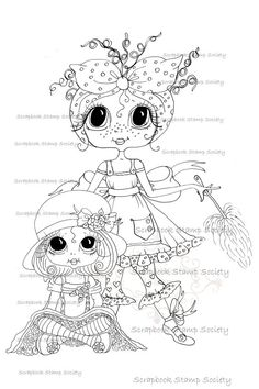 INSTANT DOWNLOAD Digital Digi Stamps Big Eyed daisy do all and daughter Besties Big Head Dolls Digi By Sherri Baldy