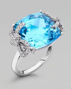 Kiki McDonough Diamond Bow 18k Gold Blue Topaz Ring - A great alternative to a traditional diamond.