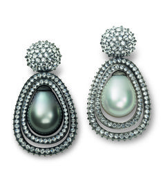 Hemmerle earrings with diamonds, cultured pearls set in black finished silver and white gold Photo courtesy of Hemmerle
