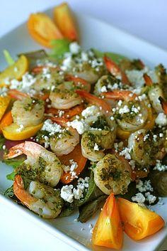 grilled pesto shrimp veggie salad by annieseats, via Flickr