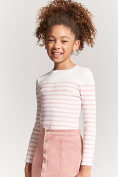 Product Name:Girls Stripe Sweater (Kids), Category:girls_tops, - Preteen Clothing Teenage Girl Outfits, Cute Outfits For Kids, Tween Fashion, Fashion Outfits, Girls Sweaters, Trendy Hairstyles, Pulls, Daughter, Girls Dresses