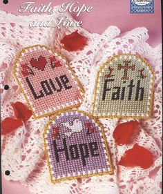 Faith, Hope and Love Plastic Canvas Pattern This is a original plastic canvas pattern from The Needlecraft Shop Collectors Series. It features small wall hangings : Faith, Hope and Love, which can be stitched using 7-count plastic canvas and worsted weight yarn or plastic canvas yarn. This is a pattern only and not the finished product! No materials are included to make this item