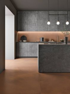 Unique, stylish and durable floor tiles. Durable Flooring, Concrete Kitchen, Tiles, Brown Kitchens, House Tiles, Tile Floor, Porcelain Tile, Interior Projects, Flooring