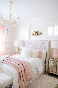 pink and white tween bedroom - brass crystal chandelier -tufted wing back bed Bedroom Decor For Teen Girls, Cute Bedroom Ideas, Room Ideas Bedroom, Girl Bedroom Designs, Home Decor Bedroom, Teen Girl Bedrooms, Ikea Teen Bedroom, Girls Bedroom Decorating, Girl Room Decor