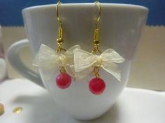Very cute organza beige ribbon earrings with pink beads. everyday dangle earrings.