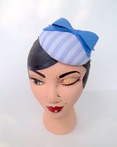 Blue Stripped Button Cocktail Hat With Blue Bow by ChefBizzaro, $60.00