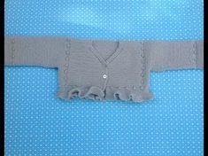 http://www.aprender-crochet.com/ Como hacer un vestido en crochet o ganchillo para bebés en punto abanicos con bodoque y detalle de manga farolito.