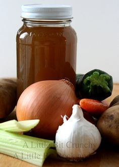 """A Little Bit Crunchy A Little Bit Rock and Roll: Homemade """"Scrappy"""" Vegetable Stock. It costs just pennies to making using leftover vegetable scraps! Canning Recipes, Soup Recipes, Healthy Recipes, Freezer Recipes, Yummy Recipes, Healthy Food, Healthy Eating, Canned Food Storage, Good Food"""