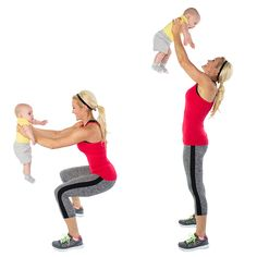 Squat Press:Hold on tight to your baby and begin to squat down toward a bench. Make sure to keep your core tight as you push up through your heels to stand. Complete 2 sets of 25 or add an extra set if you are feeling energized!