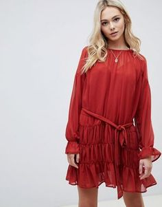 4dda5d5980b ASOS DESIGN tiered mini smock dress