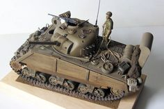 My M4 sherman,wearing  deep wading homemade device in the Pacific Front, WW2. An 1 35 scale model from Italaerei