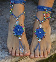 GIPSY mandala BAREFOOT SANDALS Indigo Blue Foot jewelry