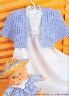 751b1446ab6d (432x600, 151Kb) Knitting For Kids, Baby Knitting Patterns, Baby Patterns, Baby Vest, Baby Cardigan, Bebe Baby, Bolero Jacket, Indian Outfits, Knit Crochet