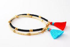 Pulsera perlas con borla pulseras apilable regalo por feltlikepaper