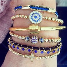 Set By Vila Veloni Gold And Blue Bracelets Chic Style