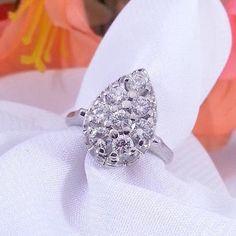 Vintage Diamond Cluster Ring Pear Shape Pave 1 by TracyBDesignsAZ