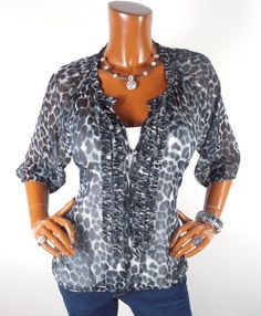 8a5f4a88a97 EXPRESS Womens Top M Sheer Animal Print Blouse Casual Shirt Loose Black Gray  Wht  Express  Blouse  Casual