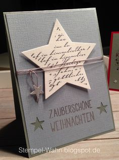 """All sorts of classic Christmas- Allerlei klassische Weihnachten Finally I get to try out the new stamps from creative-depot :]]]] I have the text from the set """"All sorts … - Stampin Up Christmas, Handmade Christmas, Christmas Crafts, Christmas Christmas, Star Cards, Creative Depot, Greeting Cards Handmade, Diy Cards, Stampin Up Cards"""