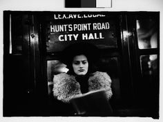 "Walker Evans (American, 1903–1975). [Subway Passenger, New York City: Woman in Hat and Fur Collar Beneath ""City Hall"" Sign], January 26, 1941. The Metropolitan Museum of Art, New York. Walker Evans Archive, 1994 (1994.253.615.4)"