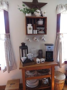 From: The Long Awaited Home: Yard Sale Coffee Bar. I love this, such a great idea and set up!
