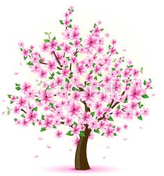 Vector illustration of a tree with cherry blossom and green leaves. Peach Trees, Peach Blossoms, Green Trees, Cherry Blossom Tree, Blossom Trees, Disney Princess Crafts, Japanese Cherry Tree, Daisy Art, Girl Drawing Sketches