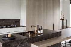 Saint Laurent marble backsplash and island