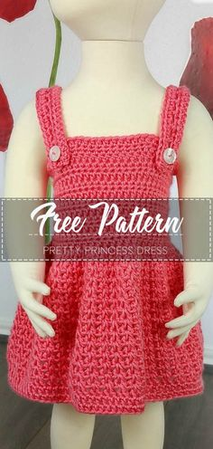 Pretty Princess Dress – Free Pattern - Everything For Babies Crochet Baby Dress Free Pattern, Crochet Toddler Dress, Crochet Dress Girl, Crochet Girls, Crochet Doll Clothes, Crochet For Kids, Easy Crochet, Crochet Baby Dresses, Crochet Patterns