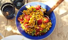 Charred corn salad. Tangy lime dressing with the sweet, toasty corn, a little bite from the red onion, the refreshing tomato, and the perfect amount of herbs. Everything about this was delicious. I'll make this all the time in the summer!