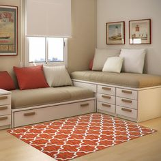 Check Out 30 Space Saving Beds For Small Rooms. A small bedroom can present big design challenges. When there's a depressingly finite amount of square footage to play with, must-haves like a bed and a dresser can be stubborn in their lack of flexibility. Trendy Bedroom, Girls Bedroom, Bedrooms, Girl Rooms, Master Bedroom, Kids Bedroom Furniture, Bedroom Decor, Furniture Dolly, Beds For Small Rooms