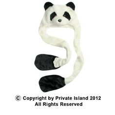 http://privateislandparty.com/ Long Panda Hat with Paws 5865 $10.00 Your head and your hands will be dressed in full panda goodness with the long panda hat with paws. Perfect for those days when you wanna do exactly what a panda bear does best! Lay around and eat! You may prefer ice cream over bamboo, but the cozy paws will keep your hands warm while holding that tub of rocky road.