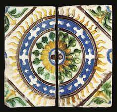 A GROUP OF SPANISH CUERDA SECA TILES, SEVILLE, SPAIN, 16TH CENTURY   Of rectangular and square form, comprising a group of four decorated in blue, black and brown radiating star design, another group of four decorated in green and brown with cross formed of green bulbs, brown trefoil designs in the interstices, a pair forming a interlacing geometric star with surrounding circular band of yellow and blue leaves and a further pair