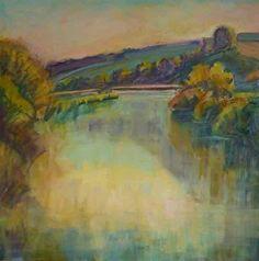 AutumnEvening River Arun by frances knight Oil ~ 90cm x 90cm
