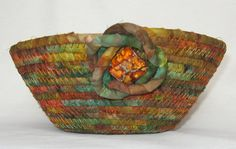 Quilted Fabric Bowl  Coiled Basket  Multi by KreativityAbounds, $28.00