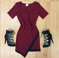 That dress!!! <3 Black Lace Heels, Dress Black, Anna Banana, Tomboy Chic, Maroon Dress, Types Of Girls, My Wardrobe, Style Me, Two Piece Skirt Set