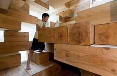 A #wooden house that seems a jenga game, by  Sou Fujimoto Architects #WoodLovers
