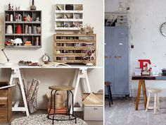 DIY HOME: TRESTLE DESK  Here's a little office inspiration for those of you who are thinking of getting yourself a new desk - why not make a it a trestle? You can find all the ingredients you need to make your own at Ikea, or scout out a vintage style one at a yard sale.