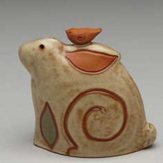 Rabbit Bunny and Bird ceramic handmade Whimsical by DavisVachon on Etsy, $48.00
