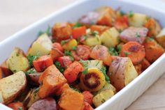 Our roasted root vegetables recipe will bring out the earthy, sweet flavors of carrots, parsnips, and potatoes. Or if you feel like experimenting, substitute others. They'll still be excellent.